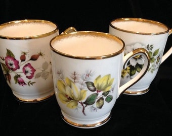 Three Royal Ardalt Fine Bone China Floral Cups - Made in England - Vintage - 2151 - Lovely!