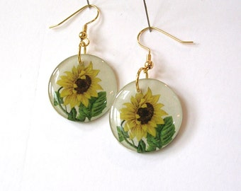 Sunflower Earrings - Decoupage Flower Earrings - Gardener Earrings - Sunflower Jewelry