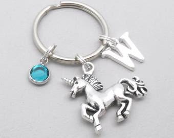 Unicorn keyring | unicorn keychain | personalised monogram unicorn keyring | unicorn accessory | unicorn gift | initial letter | birthstone