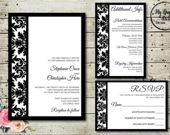 Modern Damask - Wedding Invitation - Digital