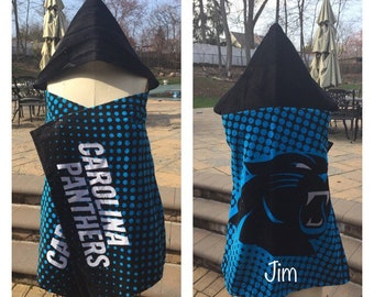 Personalized Football NFL Carolina PANTHERS hooded Towel Wrap - Monogrammed