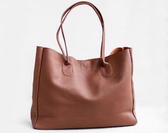 VENTE cuir Shopper marron terre de Sienne, sac fourre-tout en cuir, sac en cuir souple, sac en cuir brun, Shopper en cuir, sac cuir, sac à main en cuir,