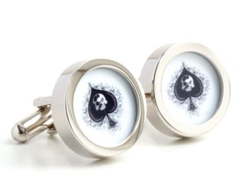 Ace of Spades Cufflinks with Skull Detail PC375