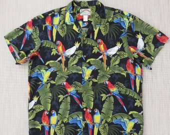 Vintage Hawaiian Shirt PARADISE FOUND Black Macaw Aloha Shirt Tropical Print Parrot Party Surfer Mens Camp - XL - Oahu Lew's Shirt Shack