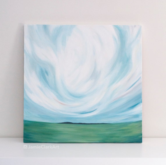 "Original 24x24 Painting ""Cloudscape No. 5"" FREE SHIPPING"