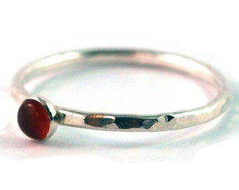 Garnet Cabochon Sterling Silver Stacking Ring