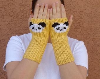 Panda Fingerless Gloves, Yellow Fingerless Gloves for Men or Women, Unisex Arm Warmers, Fingerless Mittens, Wrist Warmers READY TO SHIP