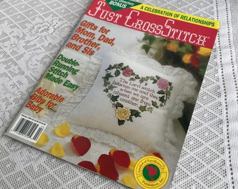 Vintage Just Cross Stitch Magazine / Cross Stitch and  Embroidery Patterns for Gifts / February 1994 Magazine