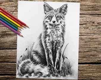 Adult Coloring Page, Coloring Pages, Printable, Instant download coloring, Fox, coloring page, adult coloring book, Best selling, fox art