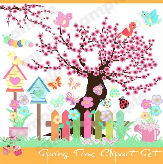 spring time clip art set rh etsy com springtime clipart free spring time clipart black and white