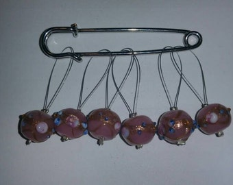 Venetian wedding beads glass bead stitch markers.  Fits up to size US 15 knitting needles.