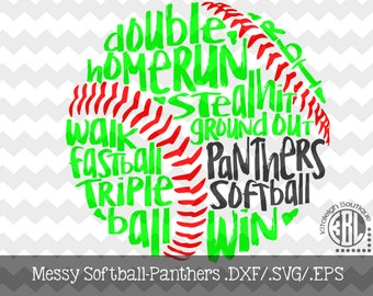 Messy Panthers Softball design INSTANT DOWNLOAD in dxf/svg/eps for use with programs such as Silhouette Studio and Cricut Design Space