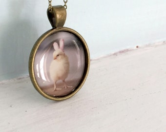 Chicks in Hats Pendant of A Chicken In Bunny Ears Baby Animal Necklace Easter Gift