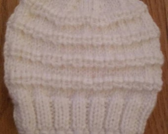 Knitted baby hat, size 3-6  months, white color