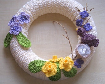 Spring wreath. PDF crochet pattern. Photo tutorial. PDF instant download.