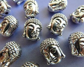 10 buddha beads, buddha head, antique silver