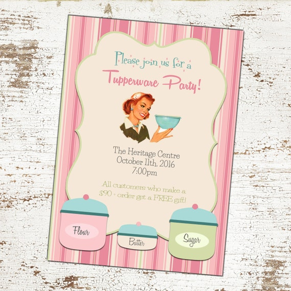Custom Vintage Tupperware Party Invitation