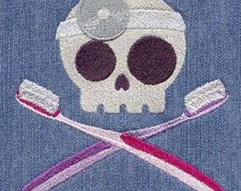 Dentist Skully Embroidered Flour Sack Hand/Dish Towel