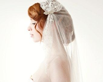 Ivory Juliet Cap Wedding Veil, Long Lace Bridal Veil, Chapel Veil, Cathedral Veil, Beaded Juliet Cap Veil, Vintage Veil - Touch of Love