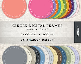 Circle Digital Frames with Stitching for scrapbooking, digital collage, blog graphics, clip art, ClipArt, Instant Download