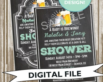 A Baby is Brewing {Beer Brew Theme / Couple's Shower} Baby Shower Invitation--PERSONALIZED DIGITAL FILE