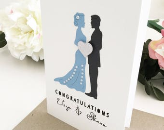 Blue Grey Wedding Card Handmade by The Paper Angel, Congratulations Card, Custom Wedding Gift, Personalised Wedding Gift, Greetings Card