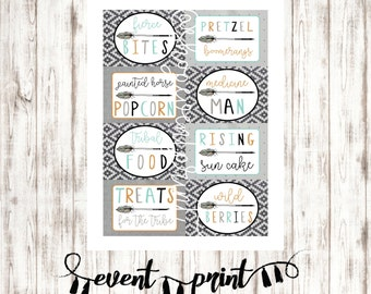 Tribal Wild One Treats for the Tribe set of 8 Printable Food Labels Signs > Buffet Cards > First Birthday Party