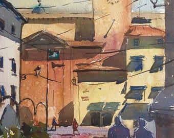 Original Watercolour Painting Art 'Desenzano,Italy' by Elise De Silva