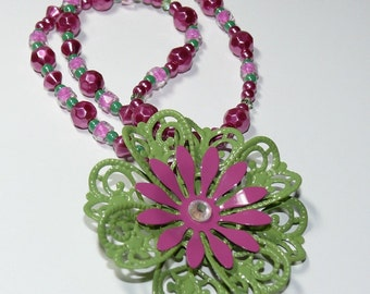 Flower Pendant in Green and Fushia Pink on Beaded Pink and Green Pearl Necklace..Think Fresh & Fun..