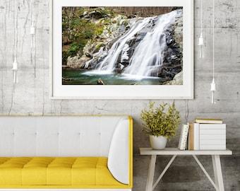 "Mountain Landscape Photography, Large Wall Art Print, Virginia Nature Photograph, Shenandoah Valley Waterfall, ""Whiteoak Canyon Lower Falls"""