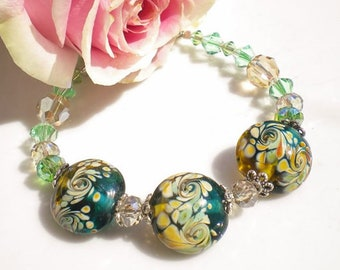 Murano Glass Beaded Bracelet Floral Murano Beads Peridot Swarovski Crystals Lt Golden Crystals OOAK