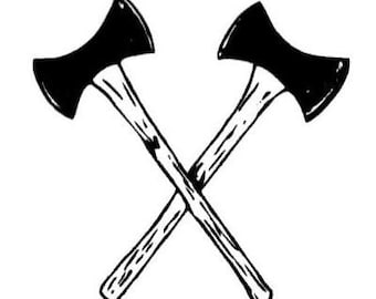 CROSSED AXES Lumberjack axe unmounted rubber stamp, ax, logger, Father's Day, masculine, Sweet Grass Stamps No.14