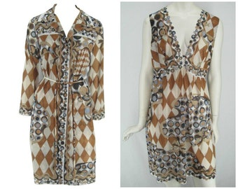 Vintage 60s Emilio Pucci for Formfit Rogers set, op art Pucci, Pucci nightgown, Pucci robe, Pucci peignor set