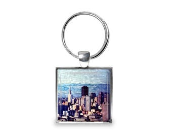 San Francisco Skyline at Twin Peaks - Glass Photo Keychain - Handmade