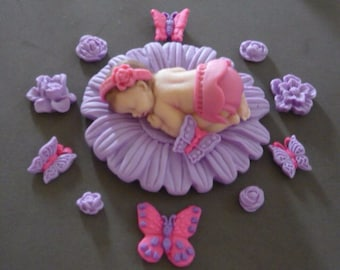 Fondant baby pink lavender daisy flower cake topper for Baby Shower, Birthday, Party Favor