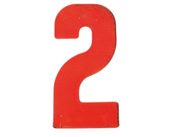 """7 1/2"""" Vintage Metal Number 2 - Red Orange Marquee Signage Number Sign Birthday Numbers - House Number Outdoor - Kid's Party Decor Sports"""