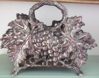 Vintage Godinger Silver Plated Grape Design and  Leaf Napkin Holder, Table Decor