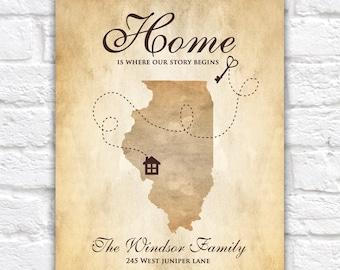 Housewarming Gift, Custom Map, New Homeowners Custom Art Print, House and Key, First House, First Home Gift, New House Art, Family Gift
