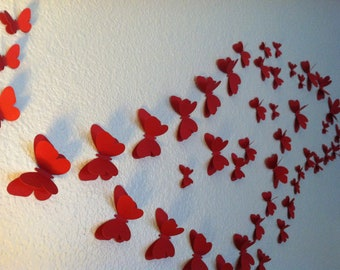 3D wedding butterflies, wall butterflies, Red  butterfly silhouettes, table butterflies