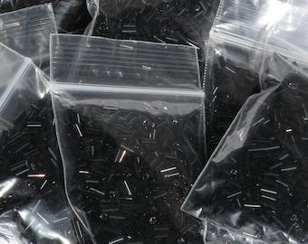 5mm Black Glass Bugle Beads