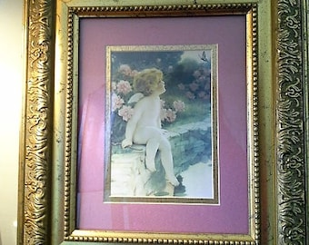 Gilded Gold Frame with Rose matted Cherub Artwork 15 x 13