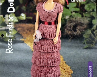 Rose Fashion Doll Dress Knitting  Pattern Designed by Thelma Jean Young 11 inch Fashion Doll pattern
