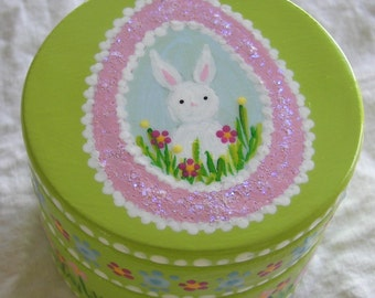 Hand Painted Love Boxes Easter Sugar Egg Bunny Box Wood