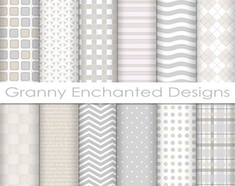 12 Digital Papers – in White, Gray, and Taupe Patterns for Digital Backgrounds, Invitations, Scrapbook Paper, and Web Design (004p1)