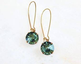 Erinite green crystal eangle earrings - ernite green earrings - Swarovski crystal - crystal earrings - green crystal earrings