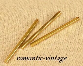 4 beautiful pendants, pins, 40 * 2mm gold plated brass