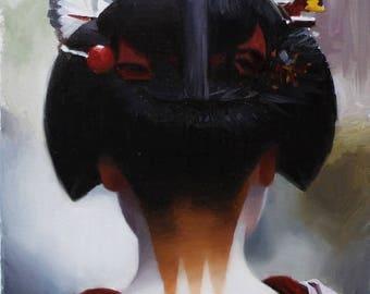 The Scarlet Fringe - oil painting on 33cm x 24cm canvas board - japanese geisha art asian maiko oriental artwork