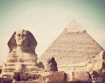 Photo of Egypt, travel photography, fine art photograph, Egyptian art, Sphinx, pyramid, art print - Classic Egypt