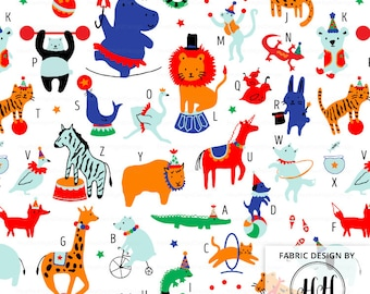 Circus Animals Alphabet Fabric By The Yard - Circus Carnival Show Performing Animals Print in Yards & Fat Quarter