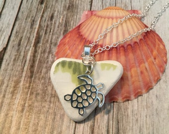 Sea Pottery / Sea Glass with Turtle Necklace